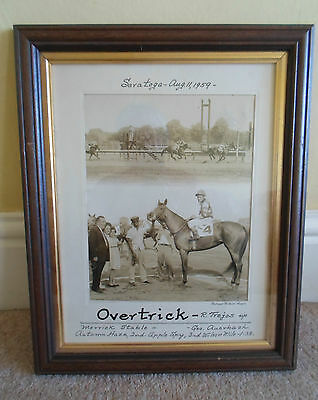 Rare Old Photo Saratoga Racecourse Aug 11th 1959 ~Overtrick Ridden by R. Trejos
