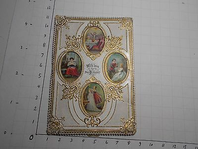 Antique Victorian  Mechanical Birthday Card Card Slide Out