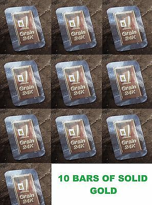 ( 10X ) 1/15th GRAMS G 24K PURE 999 FINE GOLD BULLION MINTED CERTIFIED BARS L@@K