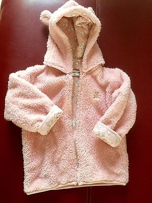 NEW Fluffy Pink Reversible Jacket Coat 2-3 Years 100cm Teddy Bear Ears & Print