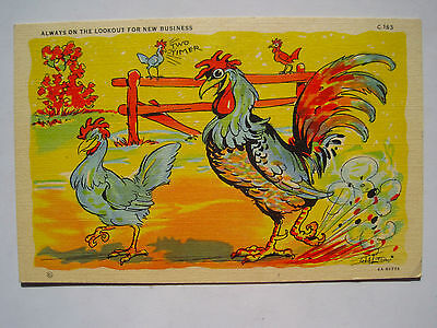 Two Timer Horny Rooster, Chicken Vintage Linen Comic Postcard; Ray Walters