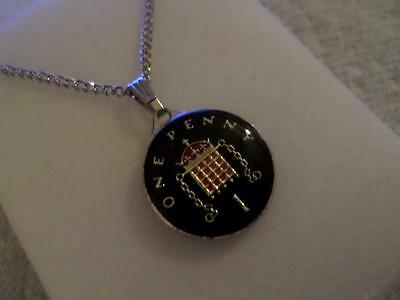 Vintage Hand Painted & Enamelled One Pence Coin 1990 Pendant & Necklace. Jewelry