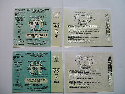 England world cup tickets 1966 Semi-Final And Final unused seat mint condition