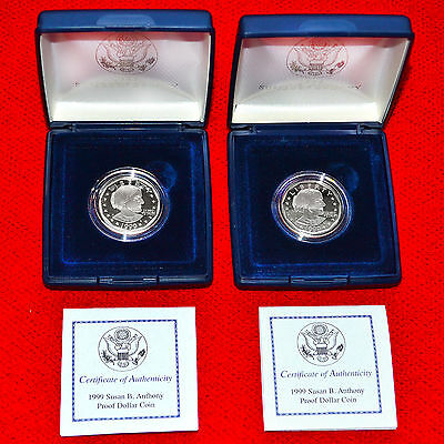 1999-P Proof Susan B Anthony Dollars + Box + Coa (2 Coin Set) Authentic Issue