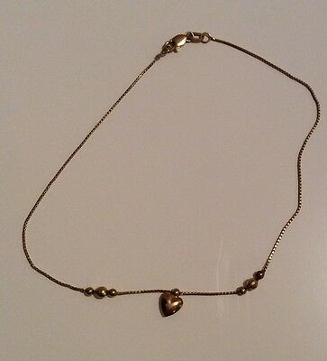 14K gold heart ankle bracelet