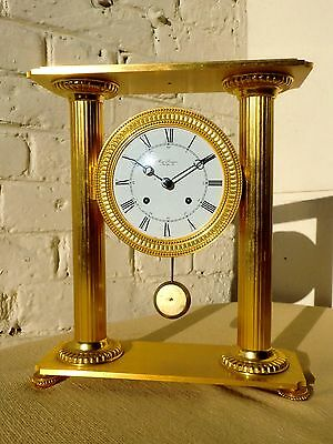 Vintage French Hour Lavigne Gilt Bronze Chiming Clock Swiss Le Castel Movement