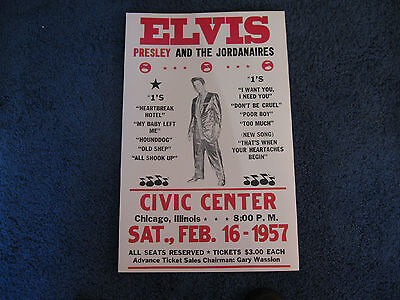 Elvis Presley Concert Poster 1957 Civic Center Chicago