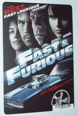 FAST AND FURIOUS  movie backer card - VIN DIESEL (this is NOT a movie)