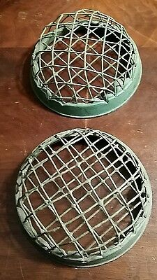 2 green metal dome shaped flower frogs