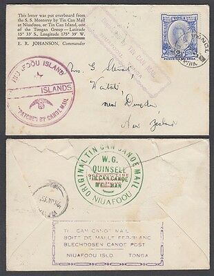 Tonga 1935(?) Tin Can Mail Cachet Cover (Id:183/d43151)