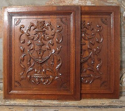 2 BOW ROCOCO OAK PANEL 21.46 in ANTIQUE FRENCH HAND CARVED WOOD PEDIMENT 19 th