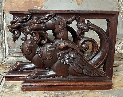 13.86 in 2 GRIFFIN SCULPTURE 19 th ANTIQUE FRENCH FULLY HAND CARVED WOOD CORBELS