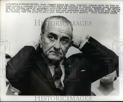 1968 Press Photo President Lyndon Johnson during ceremony at Agriculture Dept