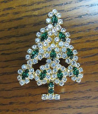 Fm Franklin Mint Christmas Tree  Green Crystal Gold Tone Brooch Pin