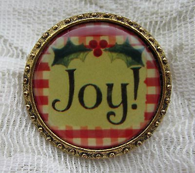 Maximally Yours Goldtone Christmas Victorian Style Joy Brooch Pin