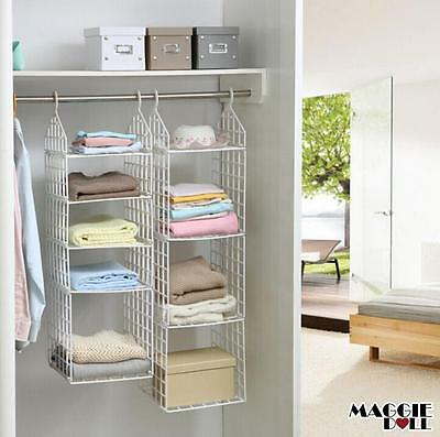 Wardrobe Storage DIY Hanger Hanging Closet Organizer Clothes Shelf Rack