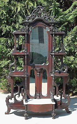 Victorian Walnut Marble Top Etagere Carved Bell Flowers Fruits & Nuts Circa 1865