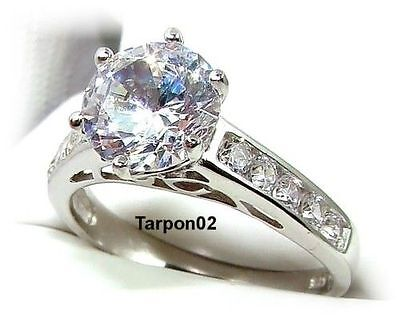 Epiphany Diamonique 2.50ct. Round+Channel Engagement  Ring- 7  NEW  FreeShip
