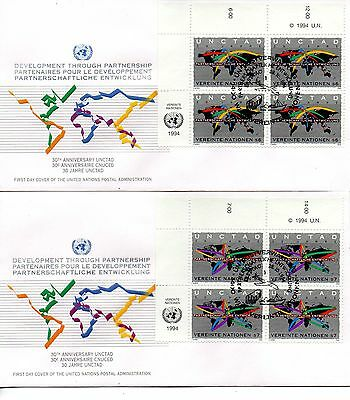 UN FDC Vienna #176-177 UNCTAD Inscription Block (2809)