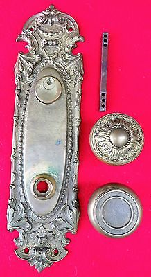 Ornate Exterior Cast Brass Back Plate With Doorknobs