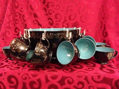 Vintage Egyyptian Hieroglyph Ornate Punch Bowl with Tray 15 Cups Black~Teal