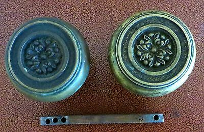 Pair Vintage Art Nouveau Floral Brass Door Knobs