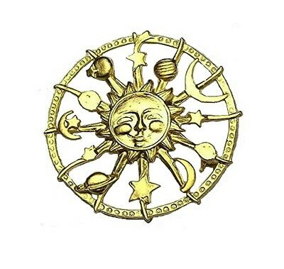 Celestial Sun Moon Star Planets Gold Tone Astrology Vintage Antique Brooch Pin