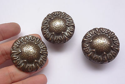 Lot 3 Vintage Solid Brass Pull handles Knobs 1 3/4'' + Backplates  Free Shipping