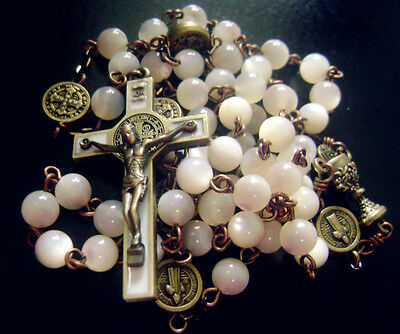 * Vintage Mother-of-Pearl Beads ROSARY Ancient bronze st.benedict Cross necklace