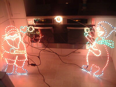 Santa & Snowman Throwing Snowball Rope Light Christmas Silhouette Part Working