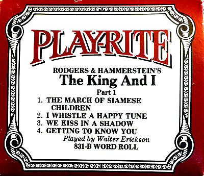 PLAYRITE Rodgers & Hammerstein's THE KING AND I Part 1 831-B Player Piano Roll