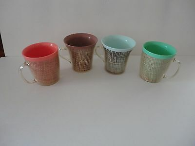 Mid Century Vintage Ratan Coffee Mugs Insulated Burlap Colors  LOT of Four
