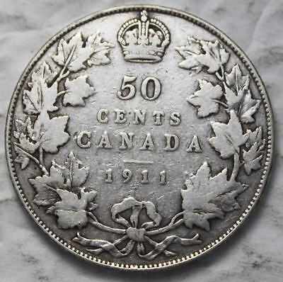 Canada 1911 Sterling Silver 50 Cents, Scarce 1 Year Type KGV, Counterstamped