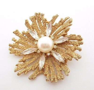 """Coral Textured Gold Tone Navette Rhinestones & Faux Pearl Vtg Pin 1.75"""" D Brooch"""