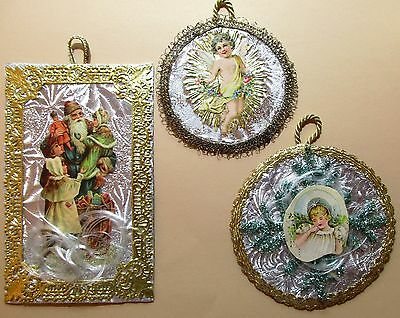 **3**vintage Reproduction Victorian Christmas Die Cut Scrap Ornaments # 1