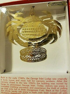 George Inlet Lodge Ketchican Alaska Brass Christmas Ornament