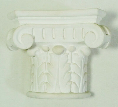 White Ceramic Acanthus Leaf Ionic Order Corbel Wall Shelf Sconce