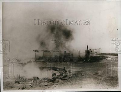 1934 Press Photo Eastern State Penitentiary Riot & Fire Graterford Pennsylvania