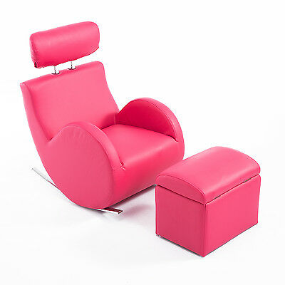 Faux Leather Kids Sofa Set Rocking Armchair Storage Home Furniture Headrest Pink