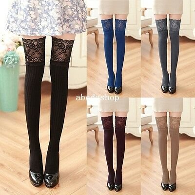 Womens Winter Cable Knitted Over Knee Long Boot Thigh-High Warm Socks Stockings