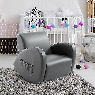 Faux Leather Kids Sofa Rocking Armchair Lazybones Padded Seat Side Pocket Gray
