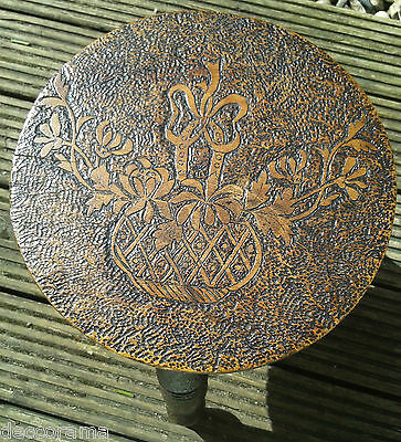 Georgian - Victorian Antique Carved Turned Wedding Betrothal Milking 3 Leg Stool