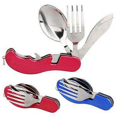1 pc Stainless Steel Foldable Cutlery Tool Spoon Fork Set Outdoor Travel Camping