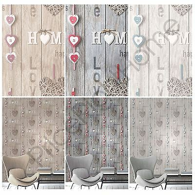 Fine Decor Love Your Home Wallpaper Blue Lilac Red Wall Decor Room New Free P+P