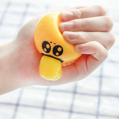 Emoji Face Anti Stress Relief Mood Reliever Ball Squeeze Vomiting Egg Yolk Toy