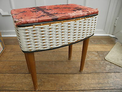 Vintage Plastic Rattan / Weave Sewing Box With Teak Legs Red Fabric Lining