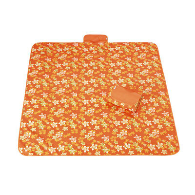 Outdoor Camping Nylon Iris Japonica Pattern Picnic Mat Orange 145 x 200cm