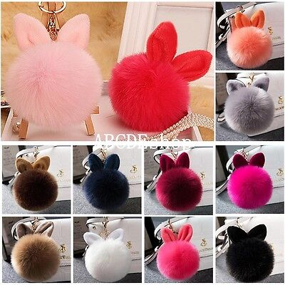Cute Rabbit Ear Faux Fur Keychain HandBag Pendant Charm Pompom Ball Car Key Ring