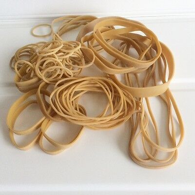 80 x Assorted Elastic Rubber Bands Mixed Small Medium Large Thin Thick Long