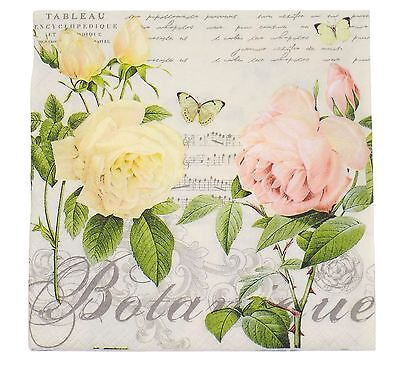 "French-Style Floral Roses Pink 3-Ply 20 Paper Napkins Serviettes 13""X13""-33X33Cm"